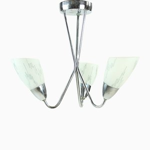 Chrome & Glass Ceiling Light, 1960s