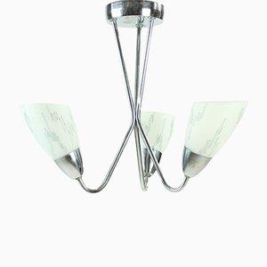 Lámpara de techo de metal cromado y vidrio, años 60