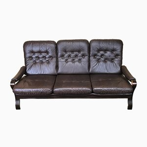 Vintage Danish Rosewood & Leather Sofa