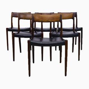 Modell 77 Esszimmerstühle von Niels Moller für J.L. Mollers 1959, 6er Set