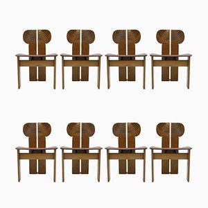 Chaises Africa par Afra and Tobia Scarpa, 1970s, Set de 8