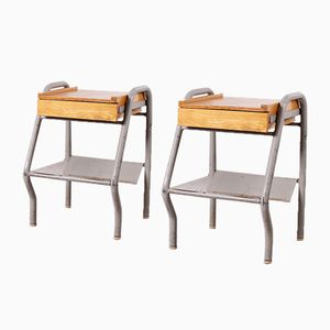 Tables de Chevet Industrielles, 1940s, Set de 2