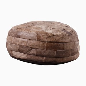 Large Vintage Leather Pouf, 1960s