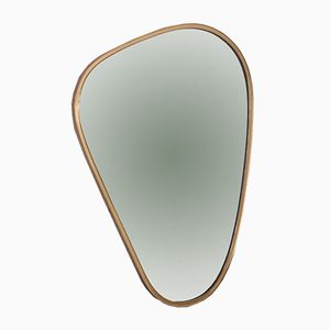 Kidney Shaped Brass Mirror, 1950s