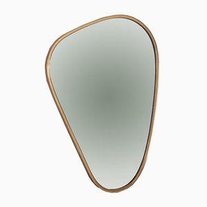 Nierenförmiger Spiegel mit Rahmen aus Messing, 1950er