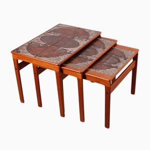 Tavolini ad incastro vintage in teak di Trioh, Tibet, 1976