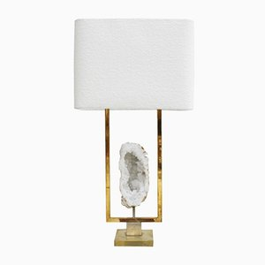 Vintage Brass & Natural Stone Table Lamp, 1970s