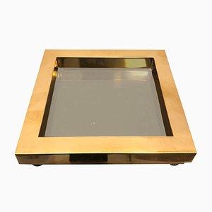 Posacenere quadrato in ottone e vetro fumé di Gabriella Crespi, anni '70