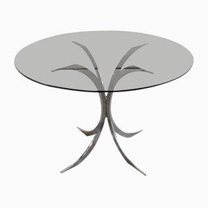Tisch mit Rauchglasplatte von Boris Tabacoff für Christofle, 1970er