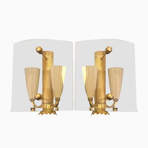Mid-Century Italian Brass and Glass Squared Wall Sconces, 1940s, Set of 2