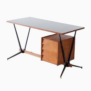 Italienischer Vintage Schreibtisch aus Teak, Messing & Eisen, 1950er