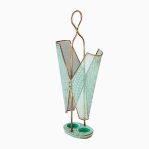 Vintage Italian Green Brass Umbrella Stand, 1950s