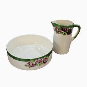 Juego de cuenco y jarra de cerámica de Urbach Freres, años 20