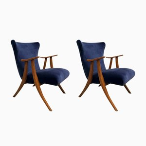Mid-Century Modern Wingback Lounge Chairs, Set of 2