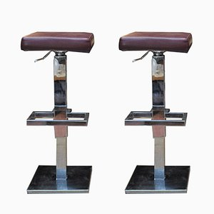 Vintage Adjustable Bar Stools from Maison Jansen, 1970s, Set of 2
