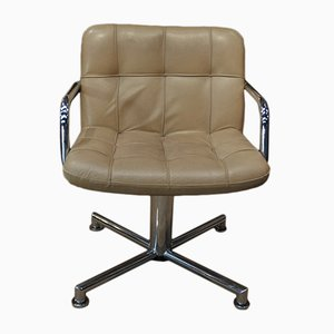 Chromed Metal and Beige Leather Chair from Airborne, 1970s