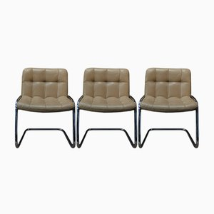 Beigefarbene Stühle mit Bezug aus Leder & Gestell aus Chrom von Airborne, 1970er, 3er Set