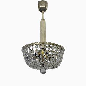 Lámpara de araña austriaca vintage de vidrio de plomo
