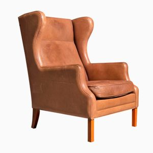 Vintage Brown Leather Wingback Chair, 1960s