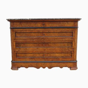 19th Century Walnut Chest of Drawers with Marble Top