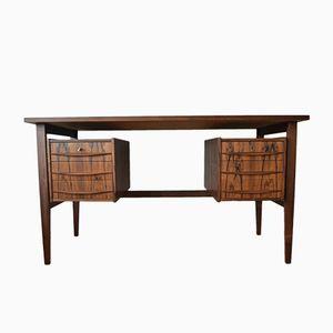 Vintage Schreibtisch aus brasilianischem Palisander mit schwebender Tischplatte