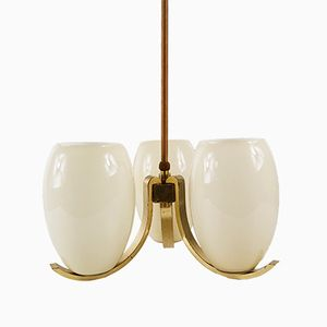 Art Deco Brass Chandelier, 1930s