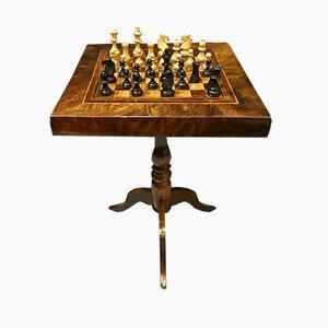 Tavolo antico con scacchiera intarsiata, Italia