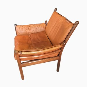 Rosewood & Cognac Leather Genius Chair by Illum Wikkelsø for CFC Silkeborg, 1970s