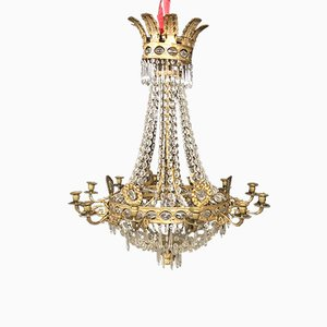 Large Antique Belgian Brass Chandelier with Crystal Glass Prisms