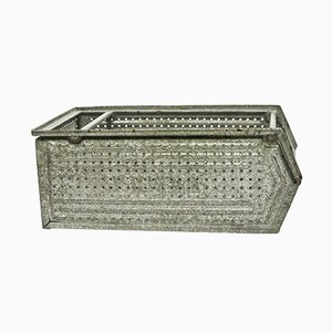 Large Perforated Galvanized Metal Case, 1950s