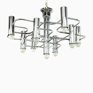 Chrome Chandelier by Gaetano Sciolari for Boulanger, 1960s