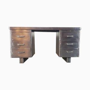 Industrieller Vintage Schreibtisch aus poliertem Stahl, 1930er