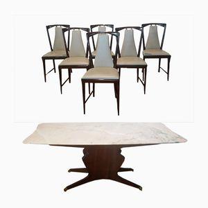 Mesa de comedor con seis sillas de Osvaldo Borsani, años 50