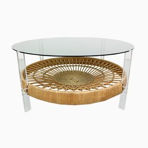 Italian Smoked Glass Coffee Table with Rattan Magazine Rack, 1970s