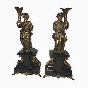 Antike Kerzenhalter aus vergoldeter Bronze und schwarzem Marmor, 2er Set