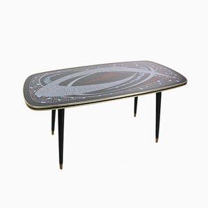 Cocktail Tisch mit grafischer Atomic Tischplatte & Messingfüßen, 1950er