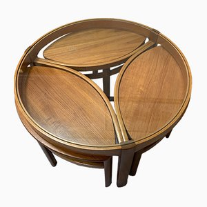 Teak & Glass Coffee Table with 3 Stools, 1970s