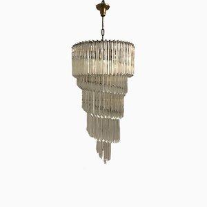 Großer Mid-Century Kronleuchter mit Kristallglasprismen von Paolo Venini