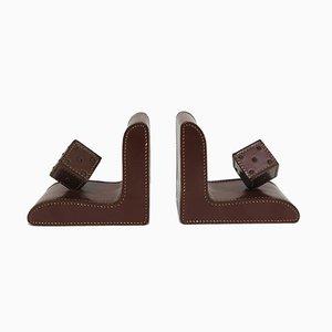 Sujetalibros de cuero de Jacques Adnet, años 60