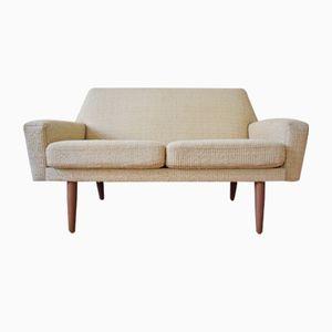 Mid-Century 2-Sitzer Sofa in Creme