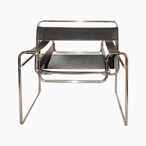 Wassily B3 Sessel aus Chrom und schwarzem Leder von Marcel Breuer für Habitat, 1970er