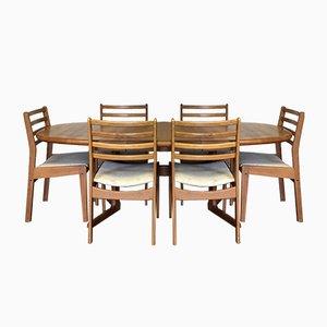 Mesa de comedor y seis sillas danesas Mid-Century de teca