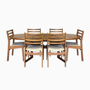 Mid-Century Danish Teak Extending Dining Table & 6 Chairs