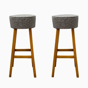 Wooden Stools with Upholstered Seats, 1960s, Set of 2