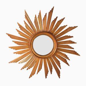 Carved Wooden Sunburst Convex Mirror, 1920s