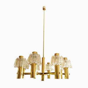 Large Brass and Frosted Glass Chandelier from Doria Leuchten, 1960s