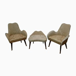 2 Lounge Chairs with Pouf, 1950s