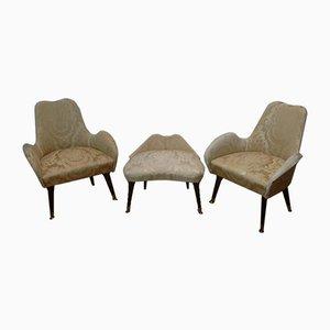 Dos sillones con puf, años 50