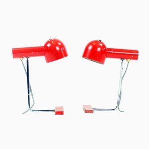 Lámparas de mesa de metal rojo de Josef Hurka para Napako, años 60. Juego de 2