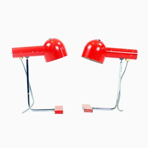 Red Metal Table Lamps by Josef Hurka for Napako, 1960s, Set of 2
